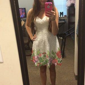 Hannah S Short White Sequined Formal Dress